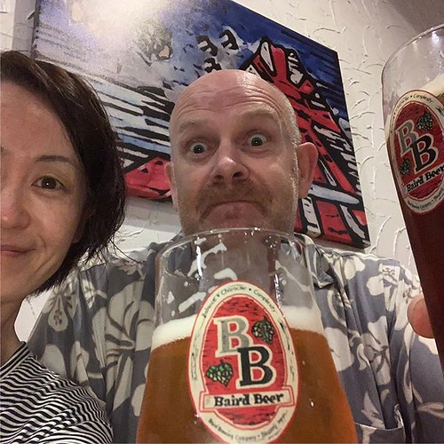 Well done Yukari; booked us into a hotel with the best #Taproom fayre in the land in the lobby! @bairdbrewing #hakuba