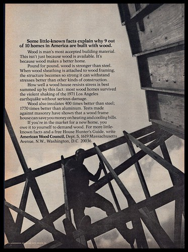 1973 American Wood Council Housing Building House Hunter's Guide VINTAGE AD