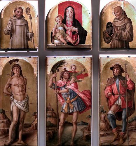 IMG_6716K Bartolomeo Vivarini 1432-1499 Venise Polyptyque de Saint Christophe (Vierge à l'Enfant, Saints Bernard, Bernard de Sienne, Saints sébastien et Saint Roch) Milan Pinacoteca Ambrosiana