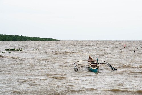 A fishing boat anchored due to bad weather in Balaring, Silay