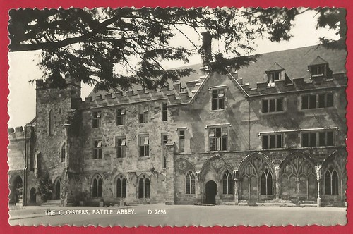 Battle Abbey, East Sussex. The Cloisters. Shoesmith & Etheridge postcard c.1960's.
