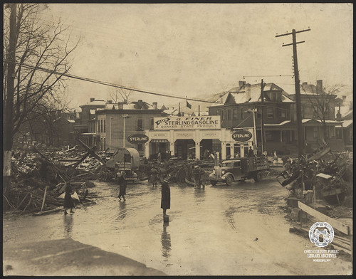 1936 Flood, Intersection of Virginia, Zane, and S. Front Streets, Wheeling Island