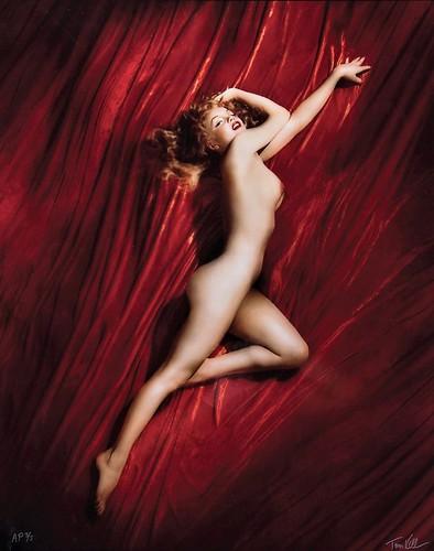 Marilyn Monroe fotografiada por Tom Kelley - Terciopelo rojo - Calendario