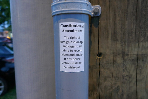 'Constitutional Amendment The right of foreign espionage and organized crime to record video and audio at any police station shall not be infringed.' sticker Dundas