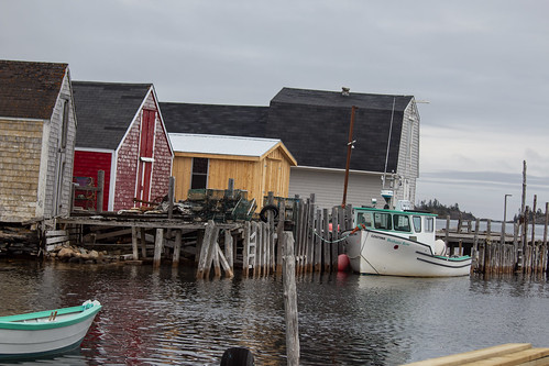Fishing shed and a boat called the Bethany Rose, Blue Rocks, Nova Scotia