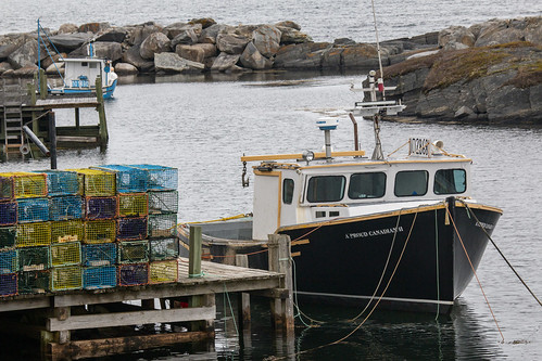 Lobster traps and the lobster boat A Proud Canadian, Blue Rocks, Nova Scotia