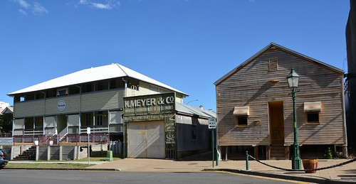 Maryborough, Queensland - Portside Apartments, Meyer Workshop, Waterside Workers' Hall built 1918 all in historic Wharf Street