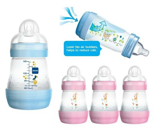 MAM Infant Baby Milk Drinking Easy Start Anti Colic Bottle Slow Flow 160ml 3Pk