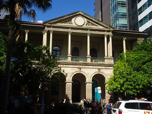 Brisbane. One wing of the grand old Brisbane Post Office built in local sandstone in the Greek classical style in 1872.