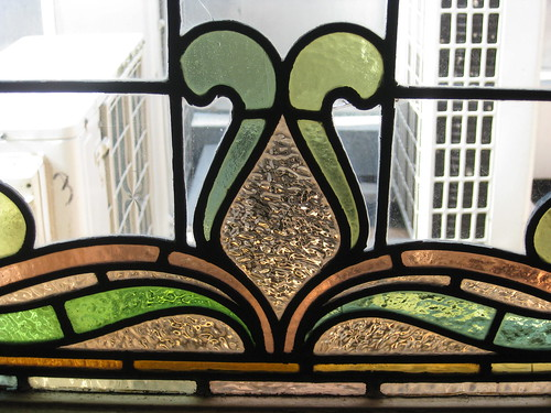 Detail of the Art Nouveau Stained Glass Window of the Upstairs Bedroom of