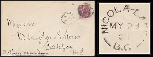 British Columbia / B.C. Postal History - 23 May 1900 - NICOLA LAKE, B.C. (split ring / broken circle cancel / postmark) to Halifax, Nova Scotia