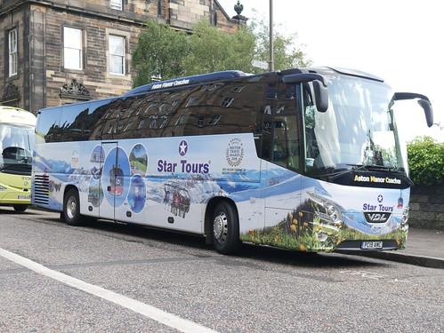 Aston Manor Coaches of Birmingham VDL Futura FHD2 PC19AMC, in Star Tours wrap, at Johnston Terrace, Edinburgh, on 15 August 2019.
