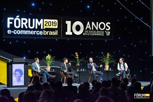 Jean Makdissi - Íntima Store -; Leandro Marcato - Veromobili -; Andre Yui - Key Design -; e Igor Gaelzer -  Nordweg -; durante o Fórum E-Commerce Brasil 2019 - Edição de 10 anos