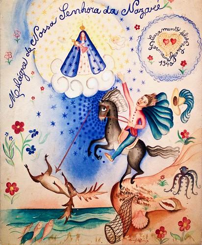 Our Lady of NAZARÉ Miracle [Usado como um um convite de casamento] (1940) - Sarah Affonso (1899-1983)