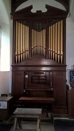 Snetzler chamber organ 1762, St. Andrews Church, Blickling, Norfolk.  It is said that composer and organist George Friedrich Handel may have played on this organ at one time.  August 2017.