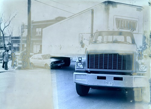 Transportation - Automobiles - Accidents - Middle St at corner of East - 1992 - Photo damaged faded