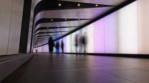Kings Cross Tunnel With People in Motion