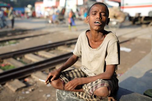 Bangladesh, homeless Rohingya boy in Dhaka