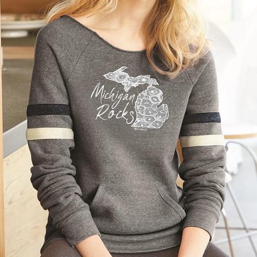 Michigan Rocks Petoskey Stone Women's Relaxed Neck Varsity Fleece