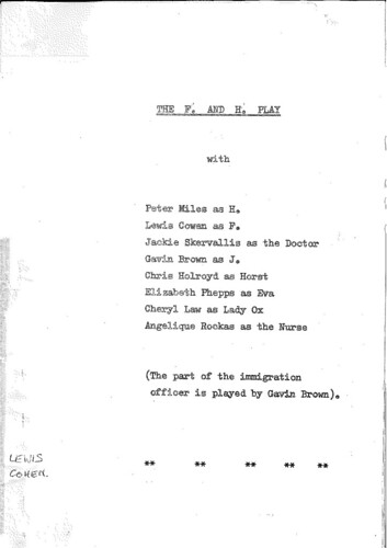 Cast list of The F. and H. PLay