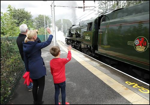 Earlestown Platform 4, 34046 'Braunton' (12.41 Crewe H.S - Bury ELR) 22/08/19.