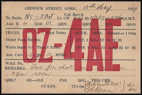 Vintage Ham Radio QSL Postcard  - 15 May 1927 / 13 June 1927 - (OZ-4AE) Gore, New Zealand to (NC-5AJ) CADBORO BAY, British Columbia, Canada