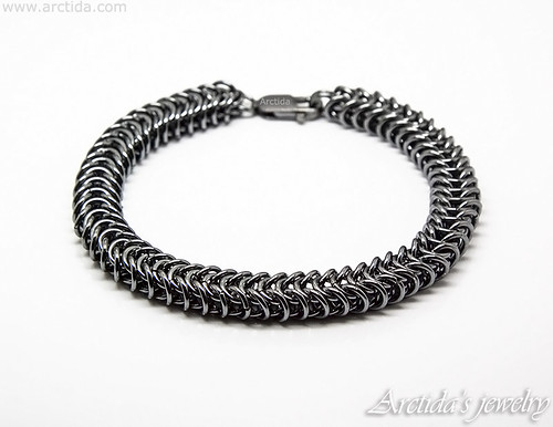 Heavy sterling silver mens bracelet massive Box Chain chainmaille bracelet for men. Mens collection by Arctida