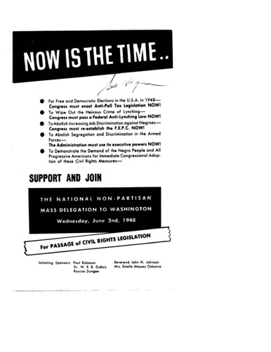 Call for civil rights demonstration in Washington: 1948