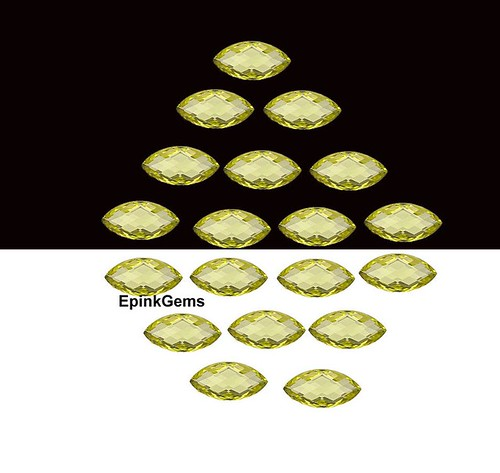 Natural Lemon Quartz checkerboard cut marquise gemstone 10x5mm to 16x8mm calibrated stone