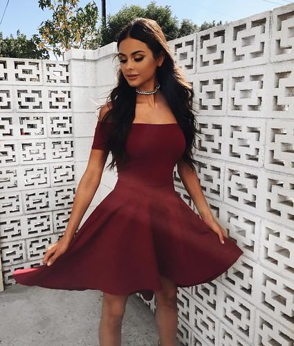 Short Sleeve High Low Hem Club Cocktail Skater Dress