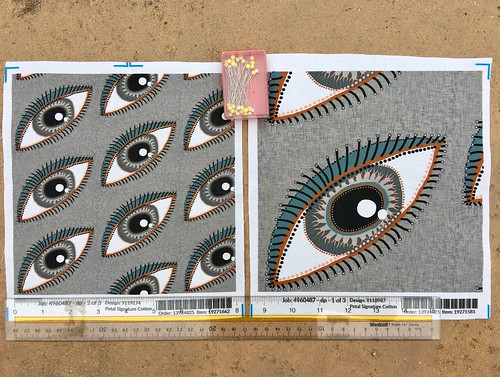 """The eyes have it!  Large and small scale fabric test swatches. Created for a """"Neutral Retreat"""" themed fabric design contest. My original design created digitally."""
