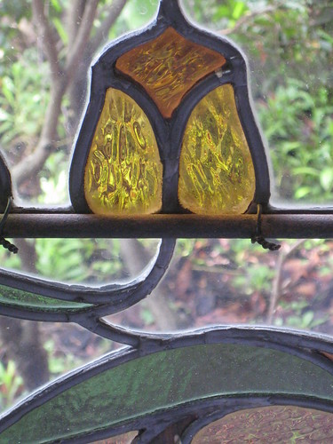 Detail of an Art Nouveau Stained Glass Window in the Dressing Room of