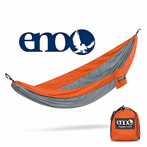 ENO – Eagles Nest Outfitters SingleNest Hammock, Portable Hammock for One, Orange Grey
