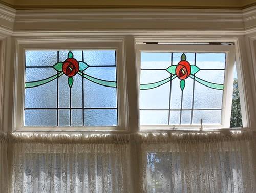 Bundaberg, Queensland, stained glass windows of Mon Repos c1925, home of aviator Bert Hinkler