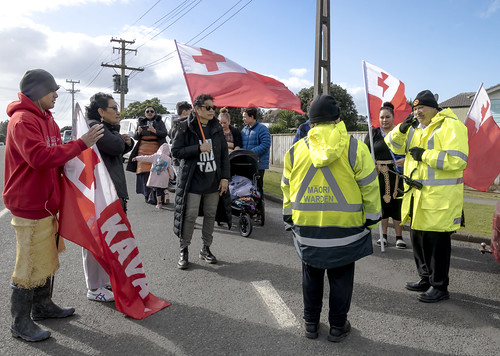 Tongans stand with Ihumatao Protest at the Otautaua Stonefields, Mangere, Auckland, New Zealand.