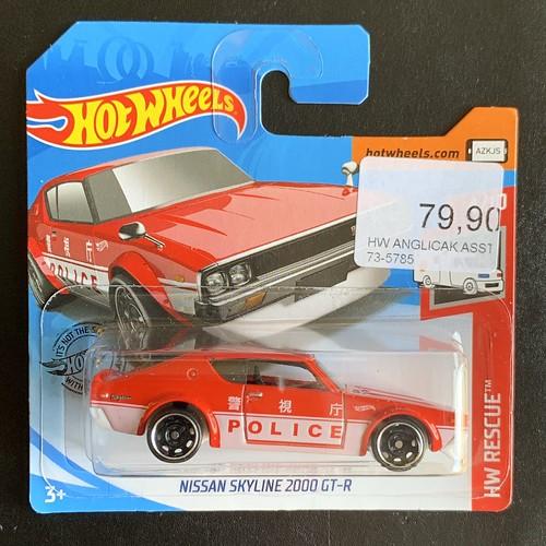 Mattel Hot Wheels -  HW Rescue 2019 - Nissan Skyline 2000 GT-R  - Japanese Police Car - Miniature Diecast Metal Scale Model Emergency Services Vehicle