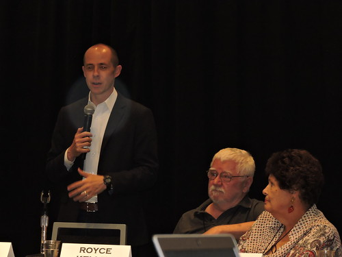 Rusty Hicks, California Democratic Party Chair Royce Kelley, Committee Chair, Organizational Development Committee; CADEM E-Board Meeting, San Jose
