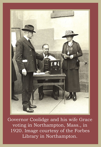 Governor Coolidge and wife Grace voting
