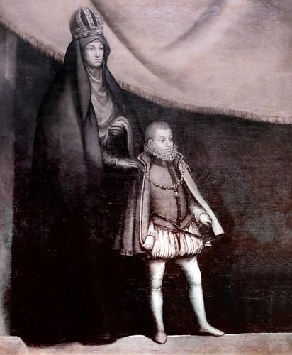 IMG_8499 Blas de Prado  1545-1599  Madrid  L'impératrice Marie d'Autriche et son neveu, le prince Philipp (futur roi Philipp III) The Empress Mary of Austria and her nephew, Prince Philipp ( futur king Philipp III) 1586 Museo Santa Cruz  Toledo
