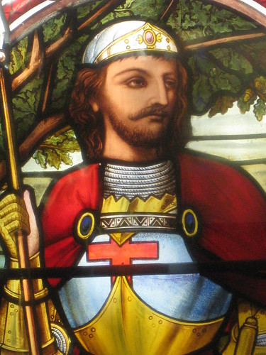 Detail of the St George and the Dragon Window by Ferguson and Urie on the Stairwell of