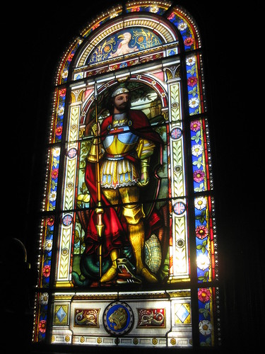 The St George and the Dragon Window by Ferguson and Urie on the Stairwell of