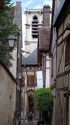 Troyes, a Medieval Alley and Belfry of the Magdalen Church