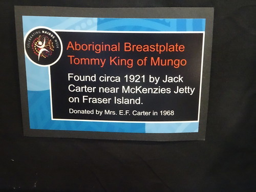 Maryborough. The Historical Society Museum in the old 1888 School of Arts building. An information board about an Aboriginal breast plate.