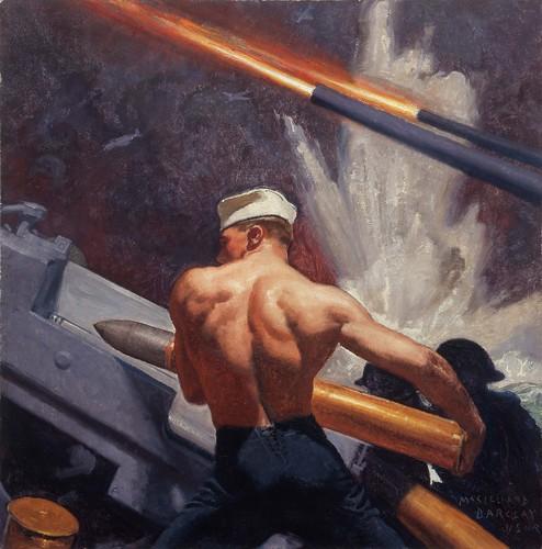 Gun Crew Loading a 5'' 38 Caliber Gun by McClelland Barclay; 1940-42