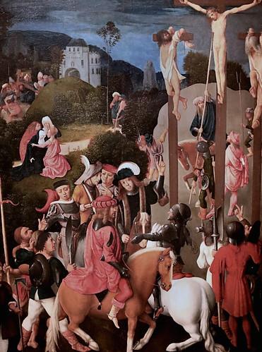 IMG_3141Q Maître de la Vierge entre les Vierges   Master of the Virgin between the Virgins actif à Delft vers 1483-1498  The Crucifixion  1487 Madrid Musée Thyssen Bornemisza