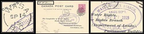British Columbia / B.C. Postal History - 14 / 17 September 1915 - WASA, B.C. (split ring / broken circle cancel / postmark) to Victoria, B.C. (water card)