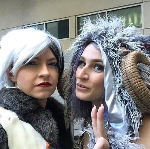 Cruella is scowling because she doesn't think there's enough fur on this Wampa to make a coat. @rebellionbarbie #sexywampa #hiltonwars2019 #porgs #cruelladeporg #dragoncon #dragoncon2019 #mashup