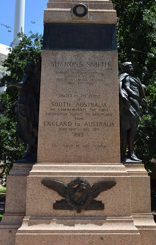 Adelaide Sir Ross Smith memorial erected by the people of South Australia to commemorate the first successful flight by aeroplane from England to Australia in 1919