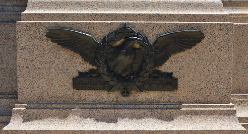 Adelaide Sir Ross Macpherson Smith memorial with Fying Corps symbol of the large eagle  and all the medals of Sir Ross