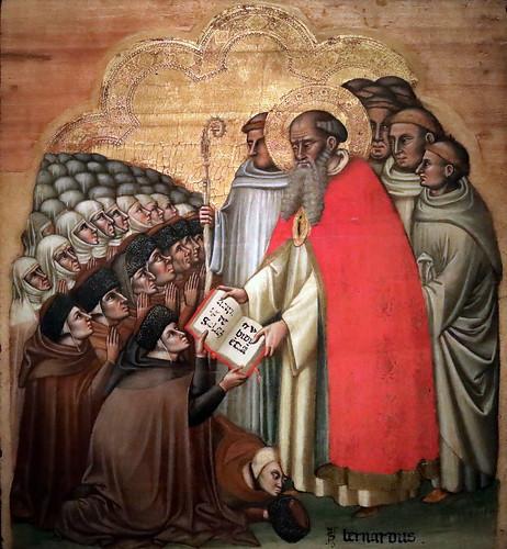 IMG_7438A Simone dei Crocifissi 1330-1399 Bologna San Bernardo consegna la regola monastica ai conversi cistercensi  Saint Bernard gives the monastic rule to the Cistercians ca 1370 Bologna Pinacoteca Nazionale